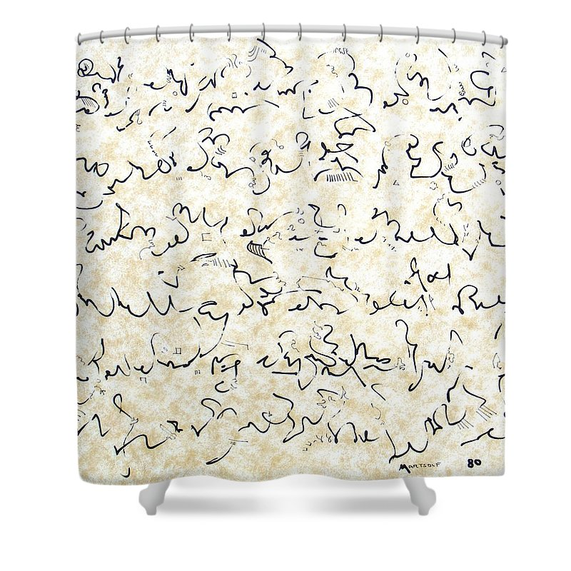 Calligraphy Shower Curtain featuring the drawing Executive Summary With Notes by Dave Martsolf