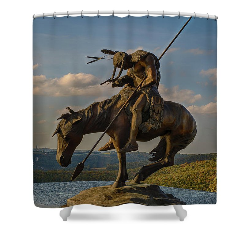 Indian Shower Curtain Featuring The Photograph Exhausted On Horse By Terri Morris