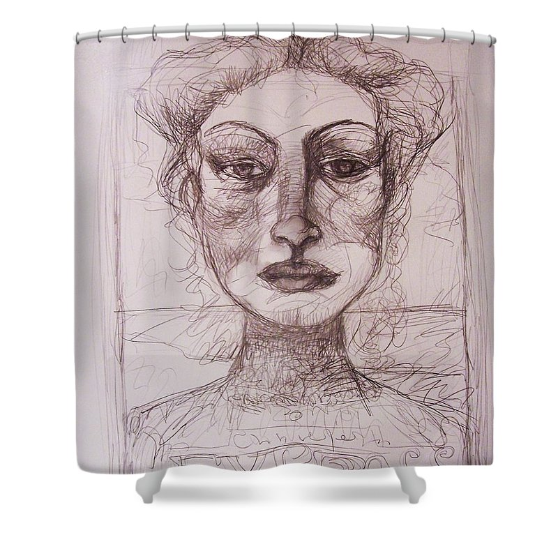 Drawing Shower Curtain featuring the drawing EXP by Mykul Anjelo