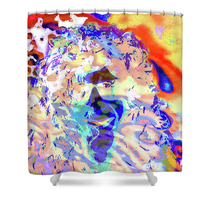 Expansion Shower Curtain featuring the digital art Expansion 104 by Love Art Factory