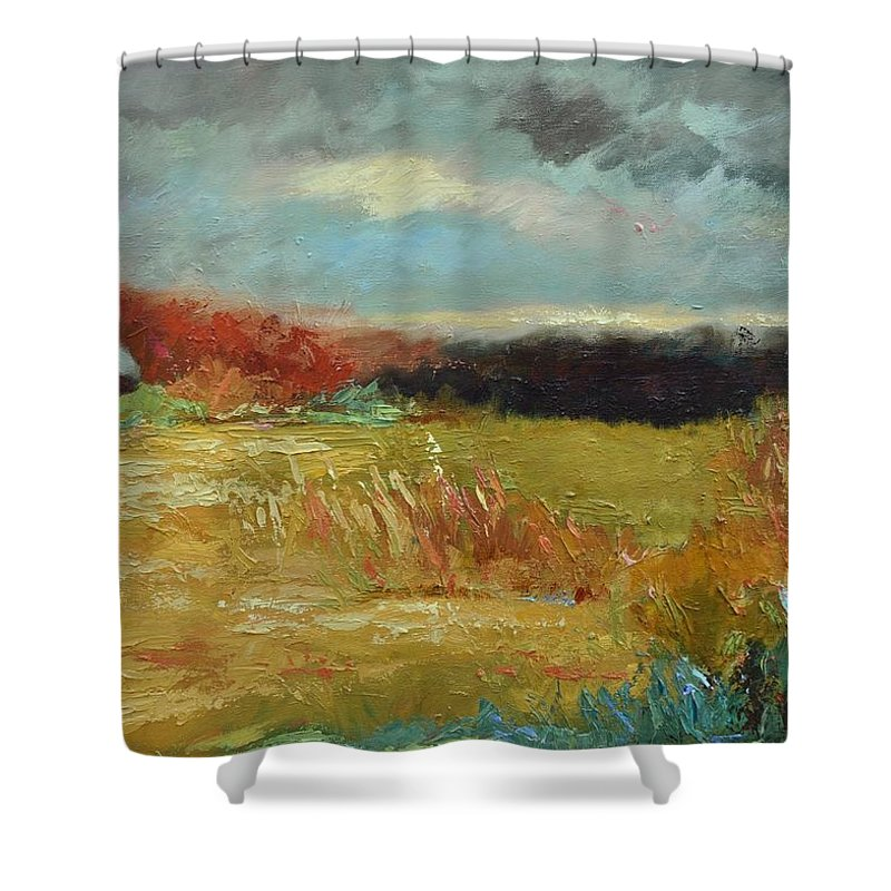 Stormy Landscapes Shower Curtain featuring the painting Expecting a Storm by Ginger Concepcion