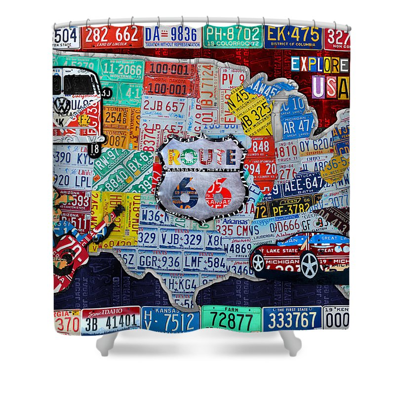 Explore The Usa Shower Curtain Featuring The Mixed Media Explore The Usa  License Plate Art And