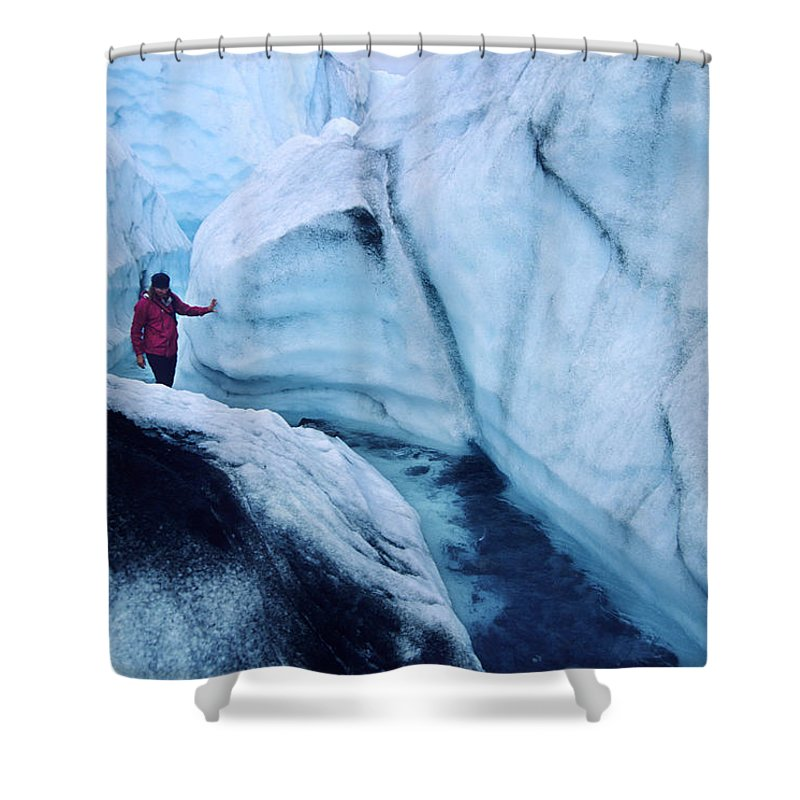 Matanuska Glacier Shower Curtain featuring the photograph Exploring A Moulin On The Matanuska by Bill Hatcher