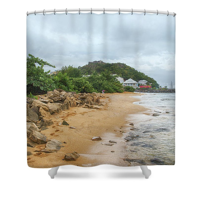St. Martin Shower Curtain featuring the photograph Exploring The Beach by CR Courson