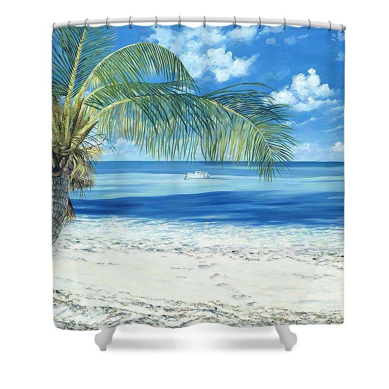 Chub Cay Shower Curtain featuring the painting Exploring The Shallows by Danielle Perry