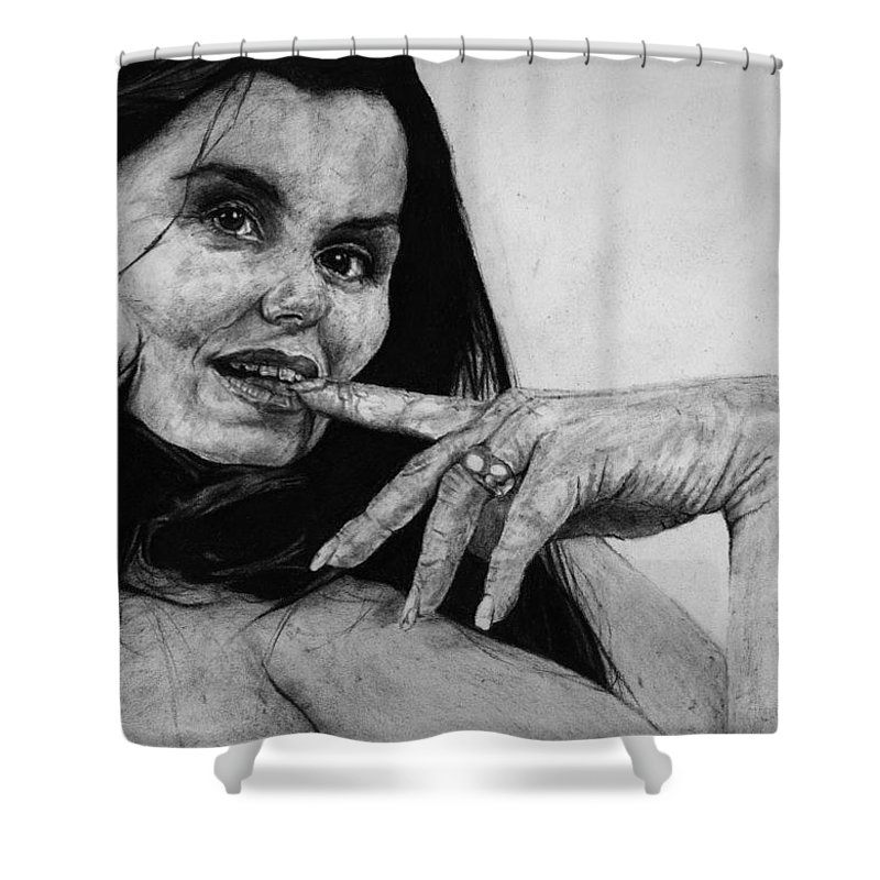 Expression Woman Charcoal Life Naked Beautiful Female Grayscale Flower Lady Beautiful Shower Curtain featuring the drawing Entice by Priscilla Vogelbacher