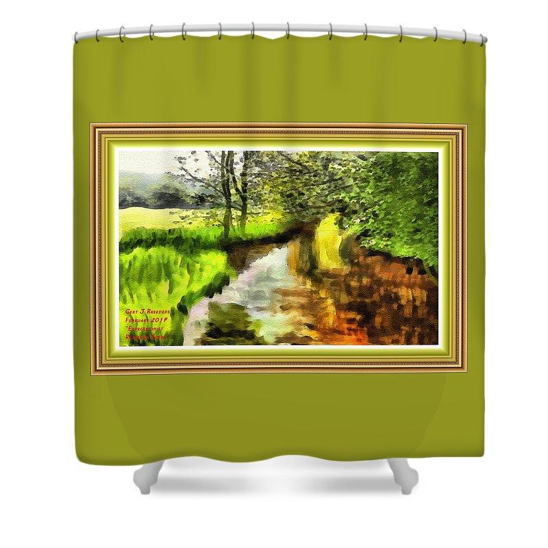 Forest Shower Curtain featuring the painting Expressionist Riverside Scene L A With Alt. Decorative Printed Frame. by Gert J Rheeders