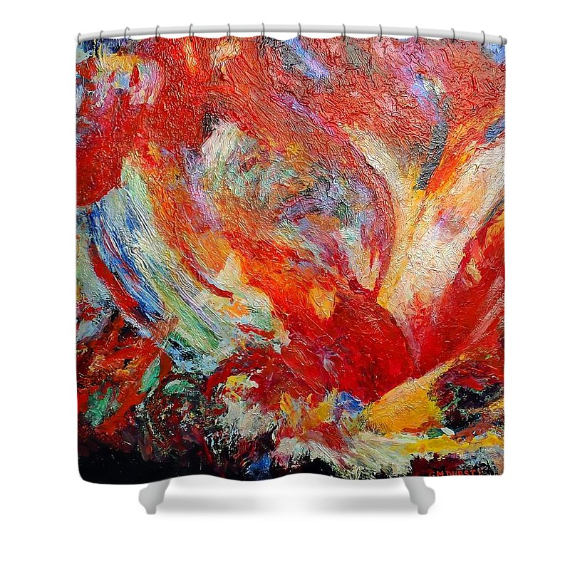 Abstract Shower Curtain featuring the painting Exuberance by Michael Durst