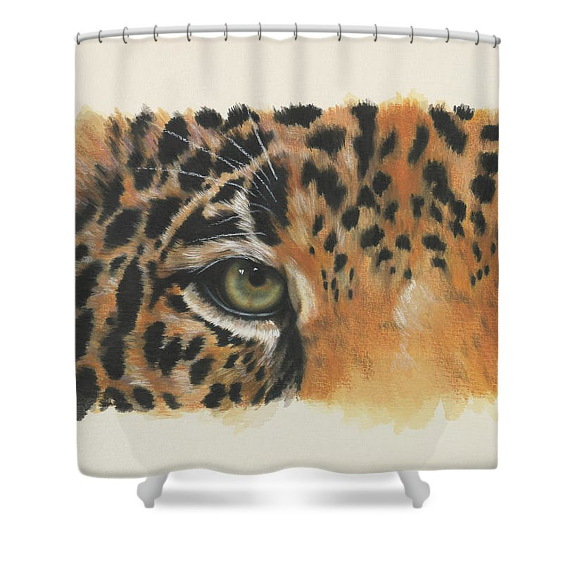 Big Cat Shower Curtain featuring the painting Eye-catching Jaguar by Barbara Keith