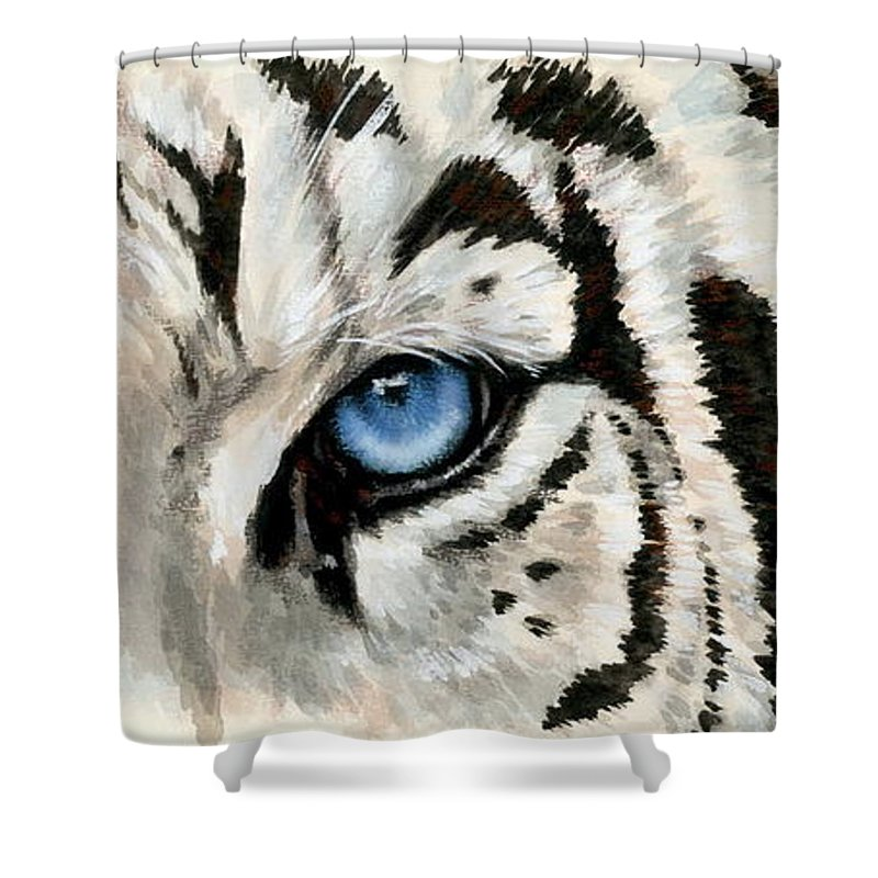 Big Cat Shower Curtain featuring the painting Royal White Tiger Gaze by Barbara Keith