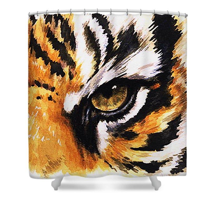 Feline Shower Curtain featuring the mixed media Sumatran Tiger Glare by Barbara Keith