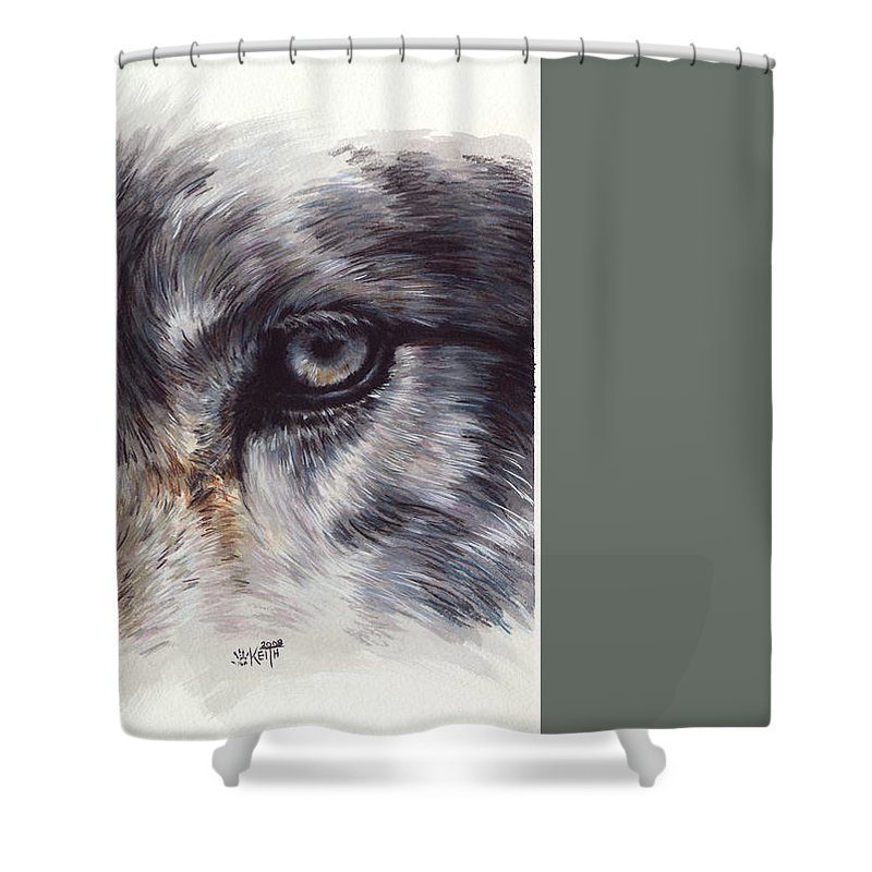 Wolf Shower Curtain featuring the painting Eye-catching Wolf by Barbara Keith