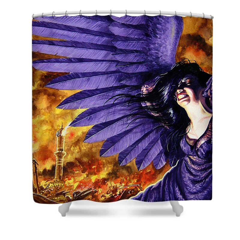 Political Commentary Shower Curtain featuring the painting Eye For An Eye by Ken Meyer