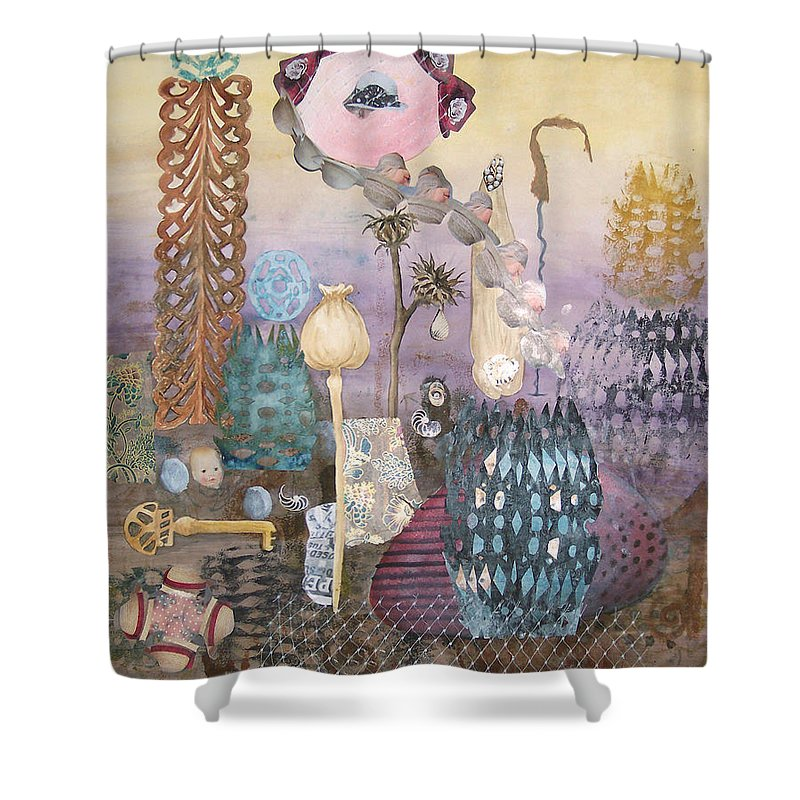 Abstract Shower Curtain featuring the painting Eye Has It by Valerie Meotti