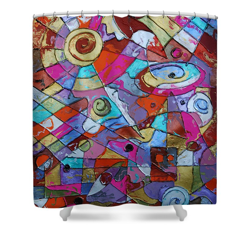Abstract Shower Curtain featuring the painting Eye In The Sky by Erika Avery