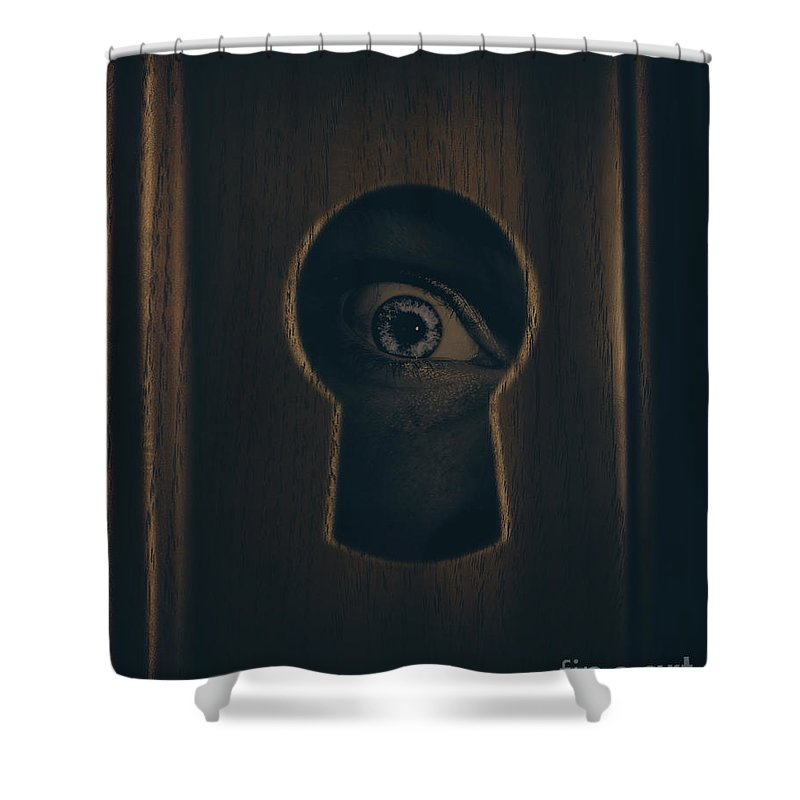 Keyhole Shower Curtain featuring the photograph Eye Looking Through Door Keyhole by Jorgo Photography - Wall Art Gallery