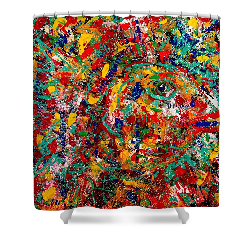 Abstract Shower Curtain featuring the painting Eye Of The Beholder by Natalie Holland