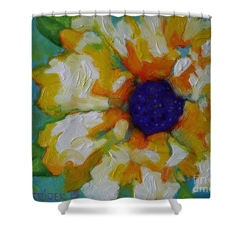 Flower Shower Curtain featuring the painting Eye Of The Flower by Alison Caltrider