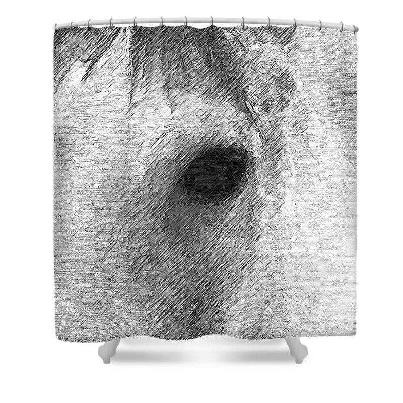 White Shower Curtain featuring the digital art Eye Of The Horse by Barbara A Lane
