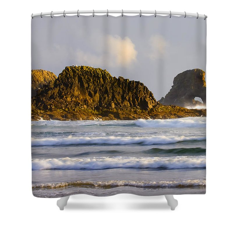 Seastacks Shower Curtain featuring the photograph Eye Of The Storm by Mike Dawson