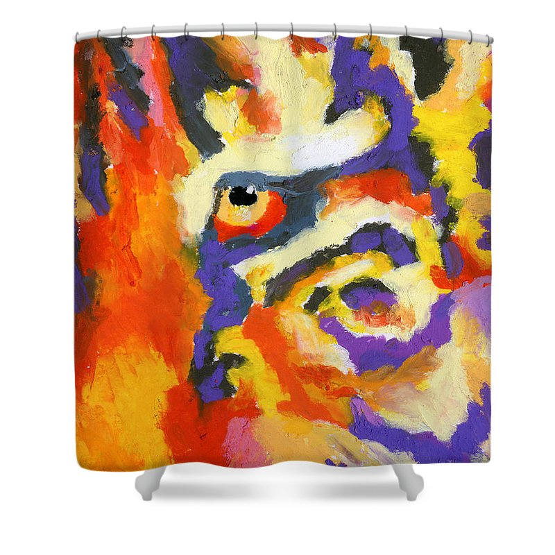 Tiger Shower Curtain featuring the painting Eye Of The Tiger by Stephen Anderson