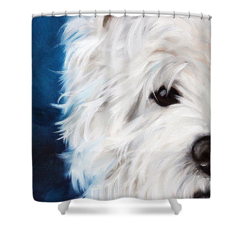 Art Shower Curtain featuring the painting Eye See You by Mary Sparrow