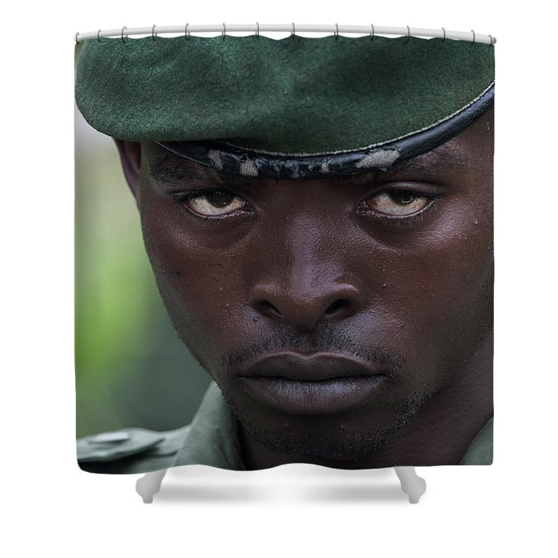 Congo Shower Curtain Featuring The Photograph Eyes Of A Killer By Steve Evans