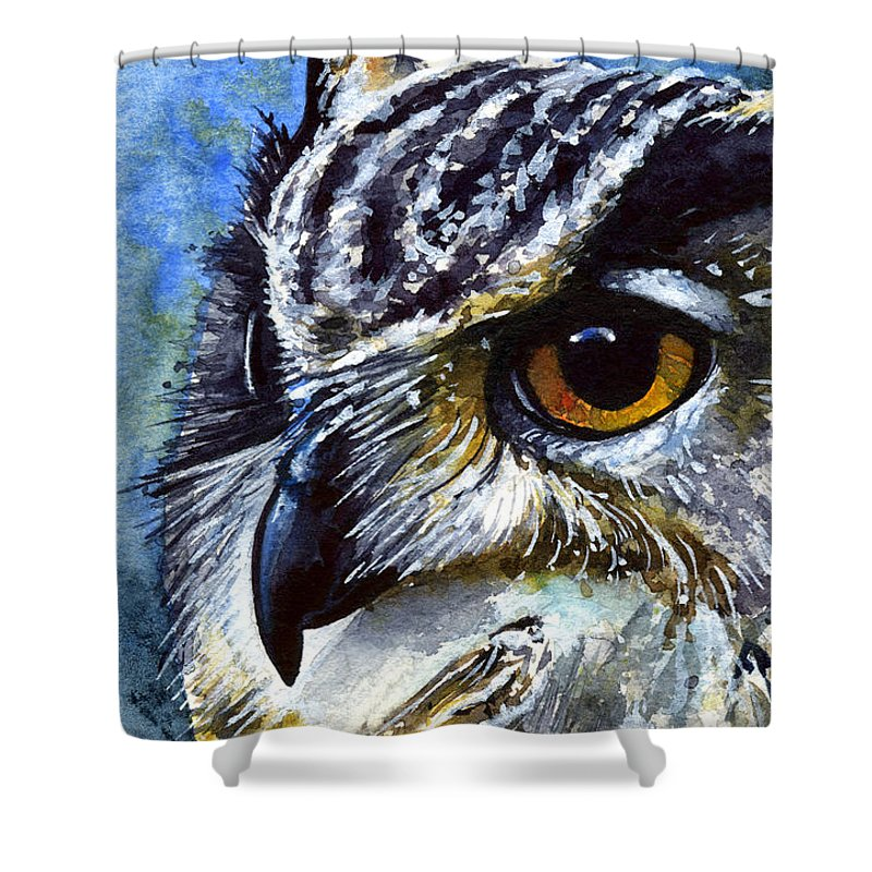 Owls Shower Curtain featuring the painting Eyes Of Owls No.25 by John D Benson