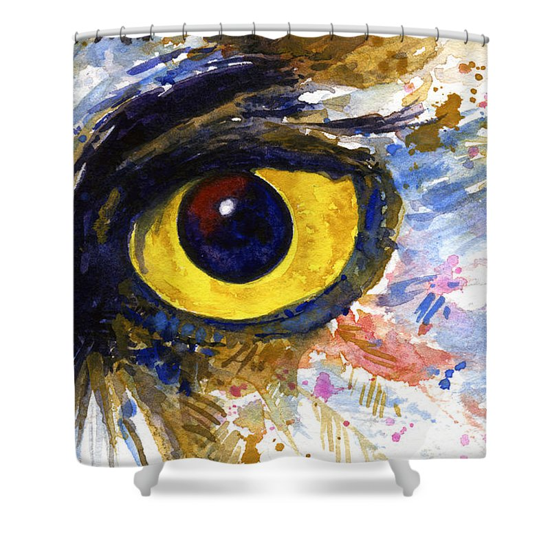 Owls Shower Curtain featuring the painting Eyes Of Owl's No.6 by John D Benson