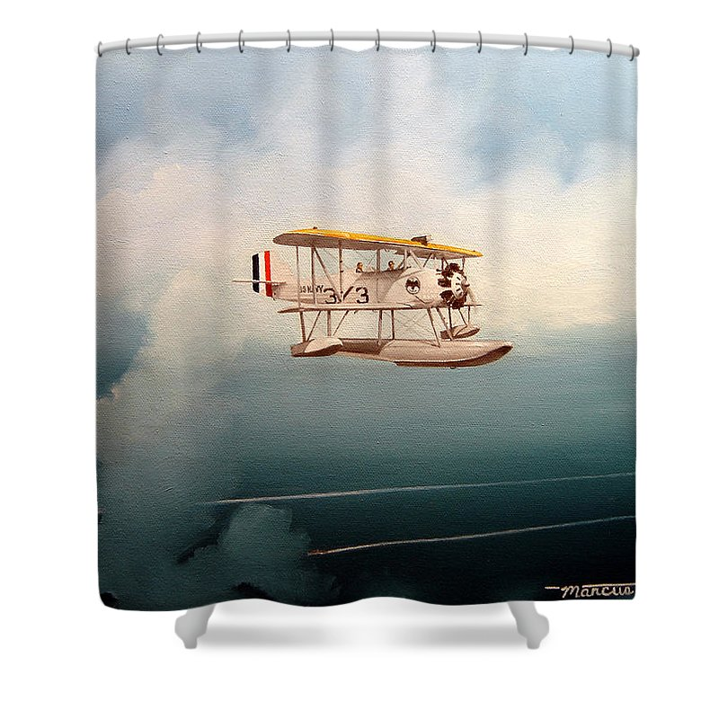 Military Shower Curtain featuring the painting Eyes Of The Fleet by Marc Stewart