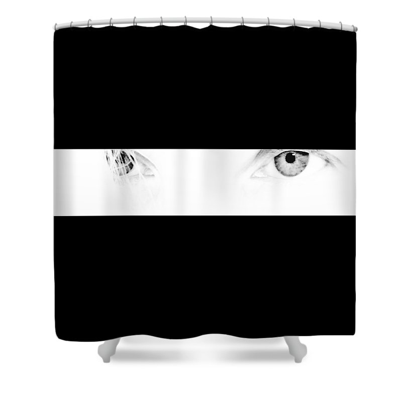 Eyes On Monochrome Shower Curtain featuring the photograph Eyes On Monochrome by Shirley Anderson