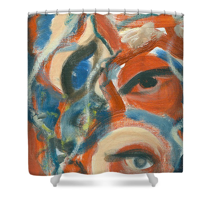 Abstract Eyes Shower Curtain featuring the painting Eyescapation by Jorge Delara