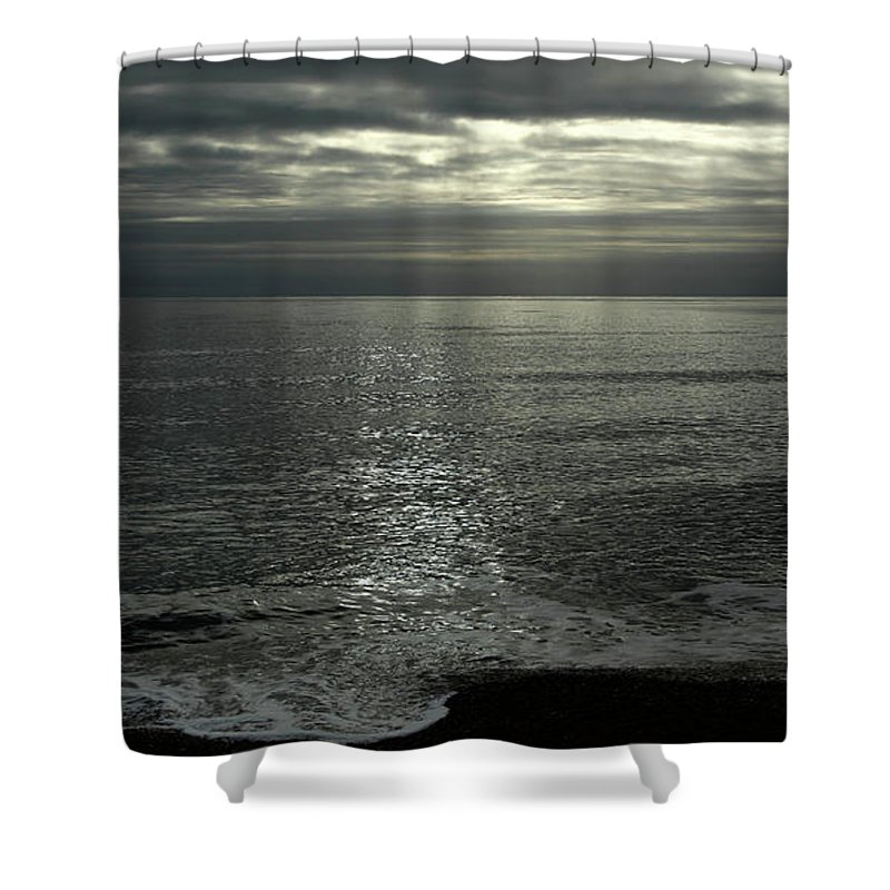 Eype Mouth Shower Curtain featuring the photograph Eype Mouth Dorset by Mike Finding