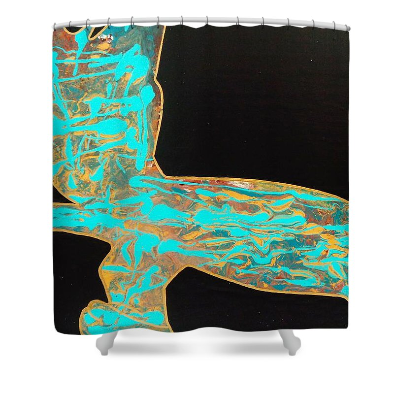 Teal Shower Curtain featuring the painting Egyptian by Dane Newton