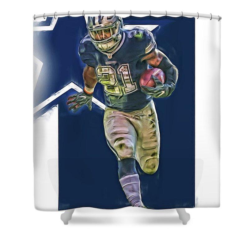 3bc05ea7866 Ezekiel Elliott Shower Curtain featuring the mixed media Ezekiel Elliott Dallas  Cowboys Oil Art Series 1