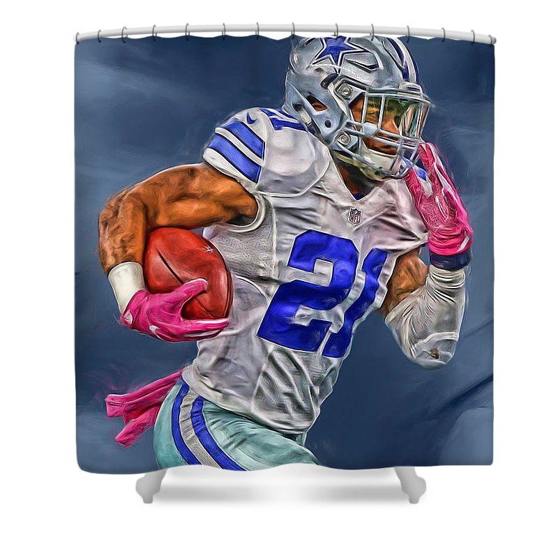 c6035ea89ac Ezekiel Elliott Dallas Cowboys Oil Painting 1 Shower Curtain for Sale by Joe  Hamilton