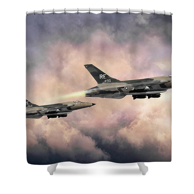 Aviation Shower Curtain featuring the digital art F-105 Thunderchief by Peter Chilelli