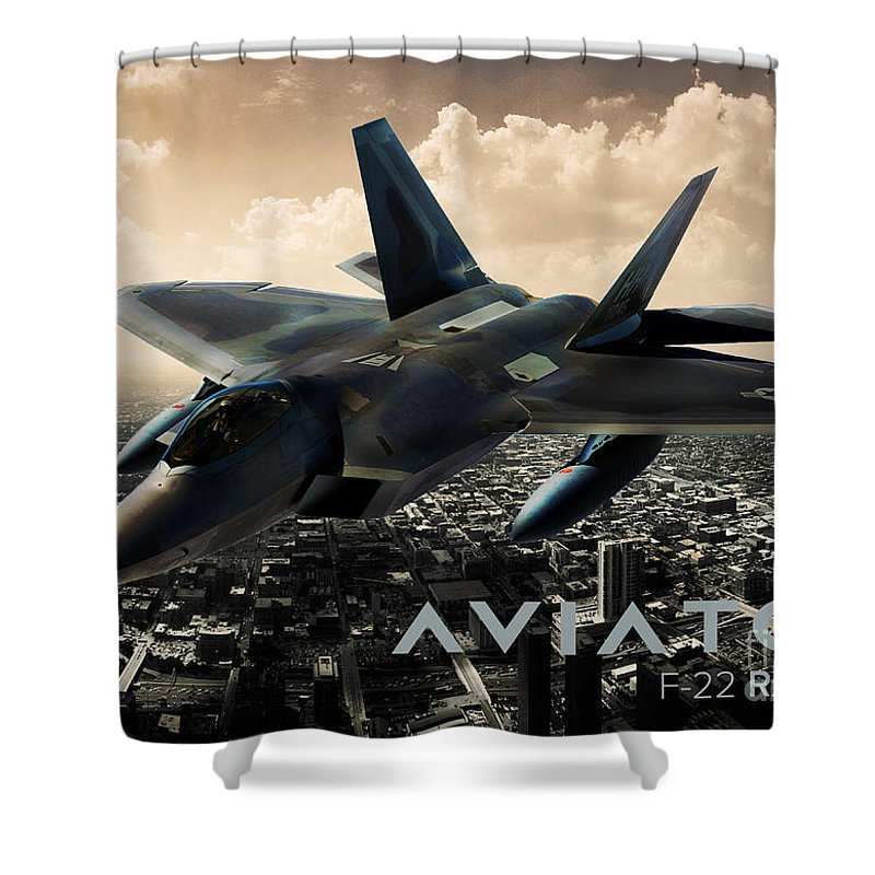 F 22 Shower Curtain featuring the photograph F-22 Raptor Fighter Jet by Fernando Miranda