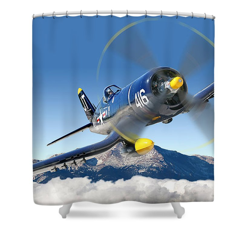 F4-u Corsair Shower Curtain featuring the photograph F4-u Corsair by Larry McManus