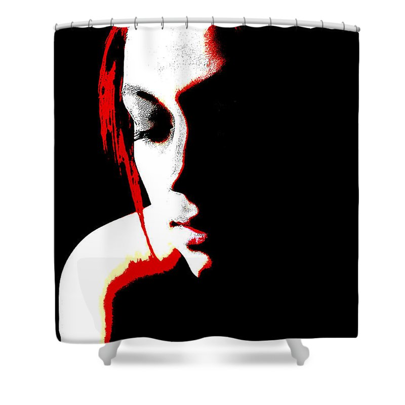 Portrait Shower Curtain featuring the photograph face of Courtney by Bill Munster