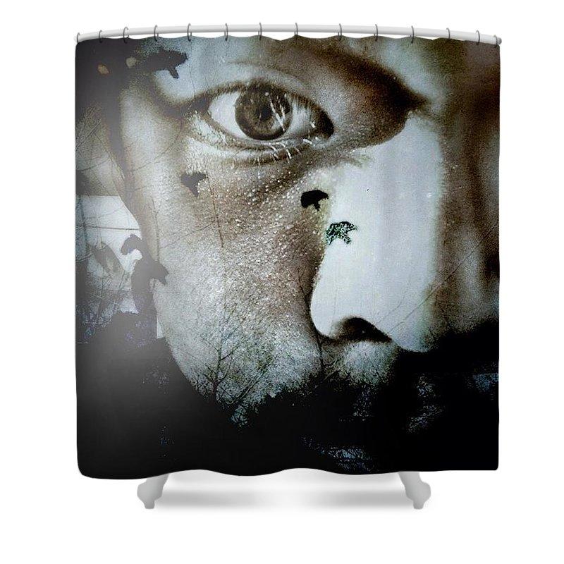 Darkart Shower Curtain featuring the digital art Face Of Impurity by John Adams Emnace