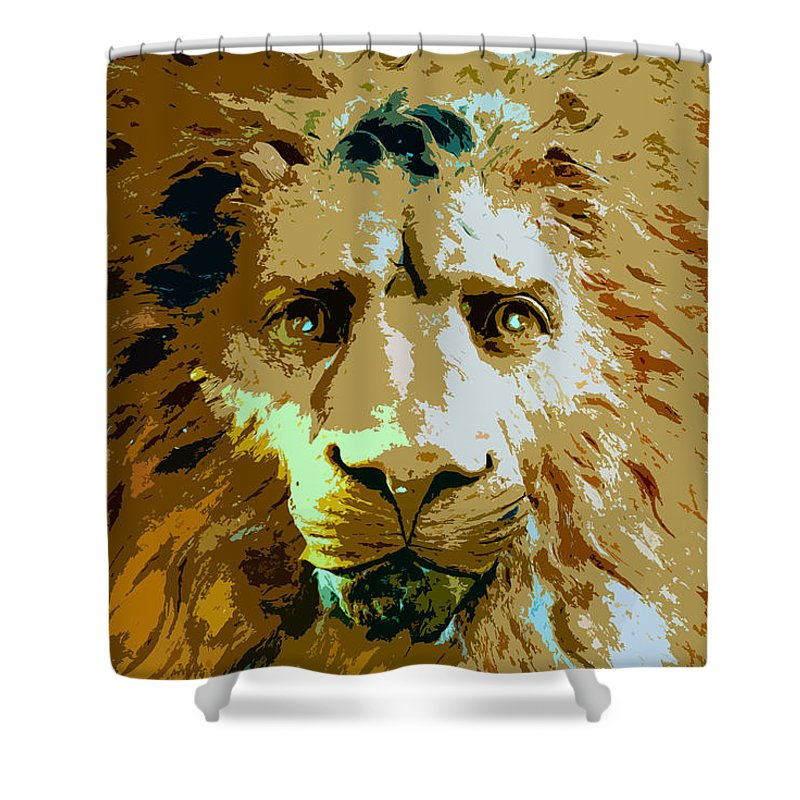 Lion Shower Curtain featuring the painting Face Of The Lion by David Lee Thompson