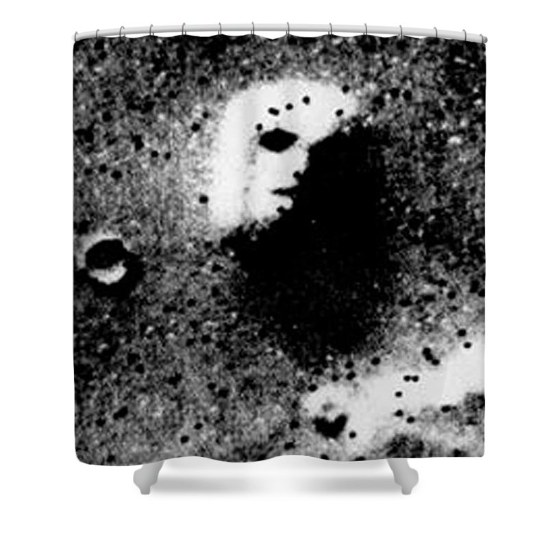 Alien Shower Curtain featuring the mixed media Face On Mars by Paul Van Scott