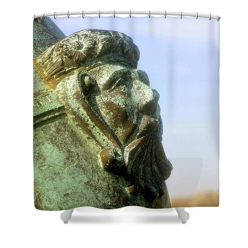 Cannon Shower Curtain featuring the photograph Face on the cannon by David Lee Thompson