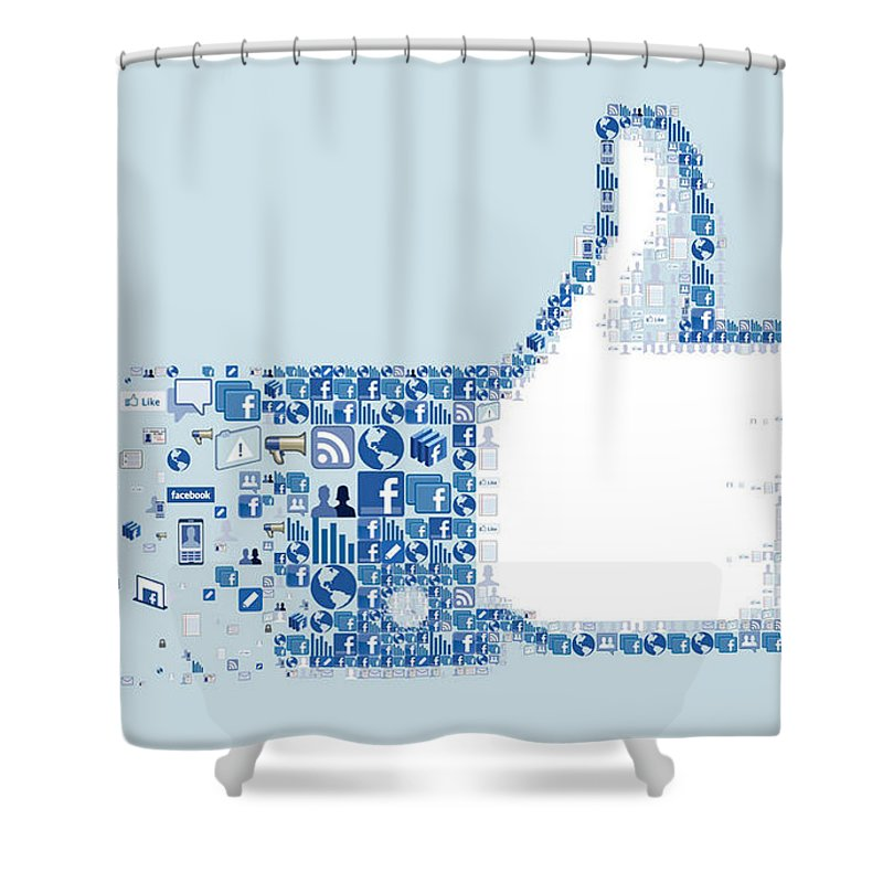 Facebook Like Collage Shower Curtain Featuring The Digital Art 798 By Jovemini