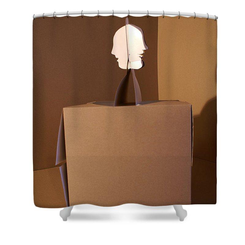 Mr Roboman Shower Curtain featuring the sculpture Faces 1 by Mr ROBOMAN