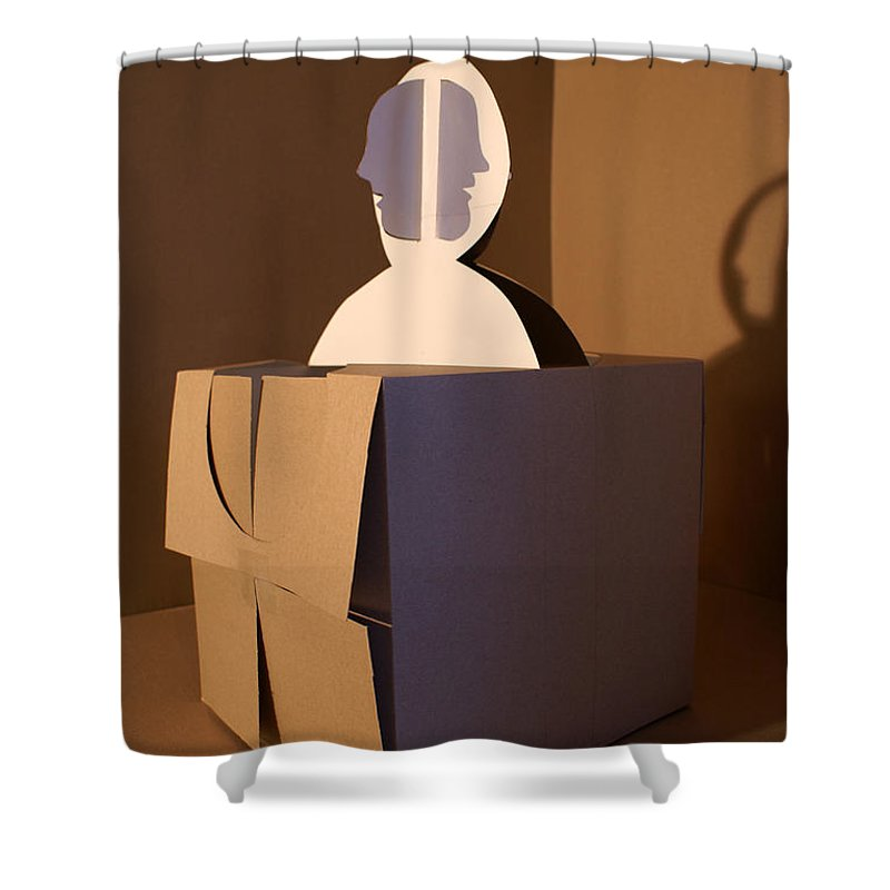 Mr Roboman Shower Curtain featuring the sculpture Faces 2 by Mr ROBOMAN