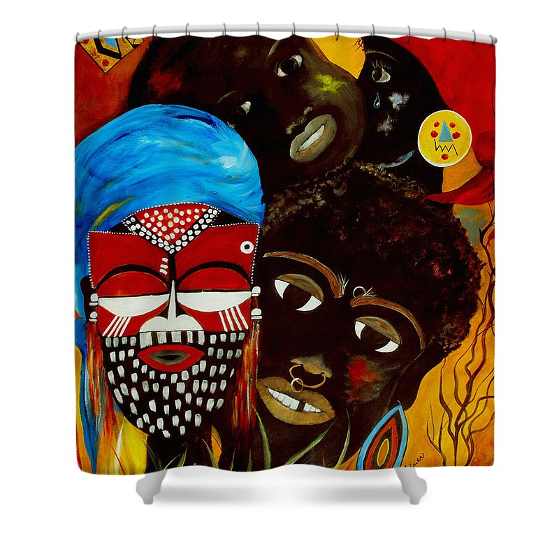 Abstract Shower Curtain featuring the painting Faces Of Africa by Ruth Palmer