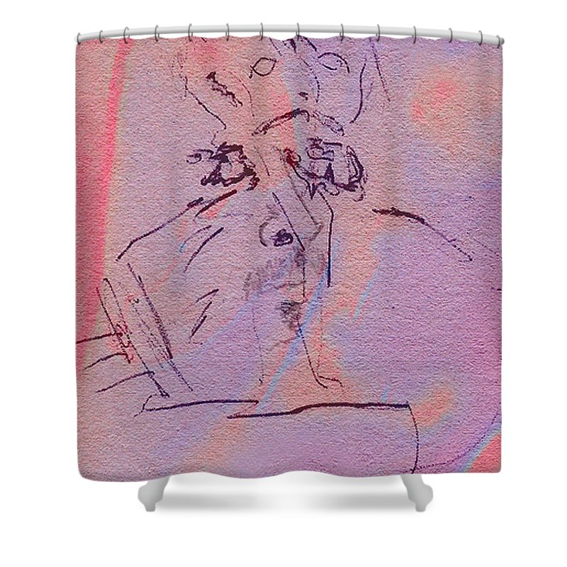 Abstract Shower Curtain featuring the mixed media Faces Of Trivia by Steve Karol