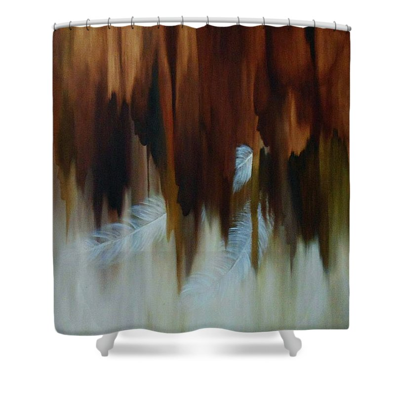 Oil Shower Curtain featuring the painting Faces by Peggy Guichu
